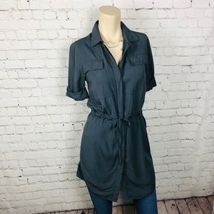 TOPSHOP Gray Button Down Tunic Top Size 2